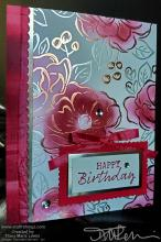 Lovely Lipstick Monochromatic Floral Birthday Card | Tracy Marie Lewis | www.stuffnthingz.com