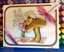 Pink Mushroom Fairy Birthday Card | Tracy Marie Lewis | www.stuffnthingz.com