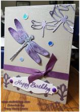 Purple Dragonfly Birthday Card  Tracy Marie Lewis   www.stuffnthingz.com