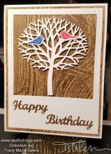 Photo Frame Tree With Birds Birthday Card   Tracy Marie Lewis   www.stuffnthingz.com