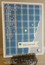 Blue Plaid Welcome Baby Boy Card | Tracy Marie Lewis | www.stuffnthingz.com